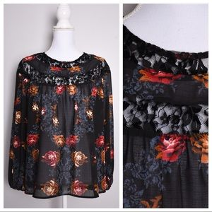 Knox Rose Lace Floral Long Sleeve Top Black
